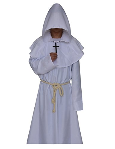 Priest Costume White (JudyBridal Medieval Monk Cloak Halloween Priest Robe Hooded Cosplay Wizard Costumes with Belt Cross Necklace L White)