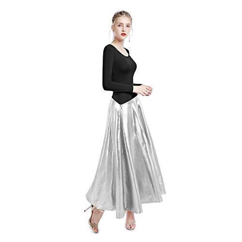 Womens Bi Color Long Sleeve Worship Dance Liturgical Praise Dress Lyrical Costume Gymnastics Ballerina Muslim Islamic Maxi Gown Dancewear Z# Black+Sliver S ()