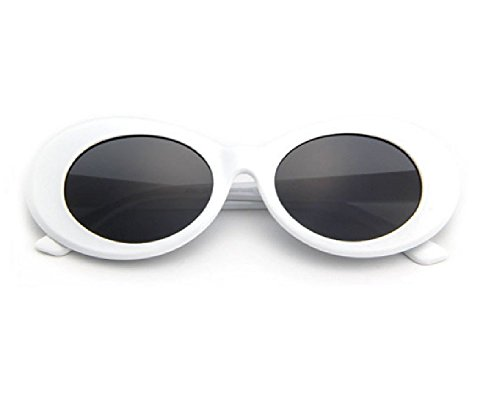 Bold Clout Goggles - 1 or 2 Pairs UV400 for Eye Protection White / Black / Leopard Print Frame Kurt Cobain Inspired Retro Mod Oval Sunglasses w/ Dark Lenses for - For Are In Style What Men Glasses
