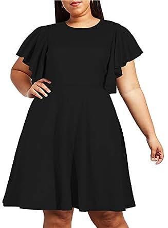 Nemidor Women's Vintage Ruffle Sleeve Party Midi Dress Plus Size Casual Summer Fit and Flare Dress NEM212 - Black - 14W
