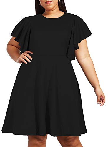 Nemidor Women's Vintage Ruffle Sleeve Party Midi Dress Plus Size Casual Summer Fit and Flare Dress NEM212 (16W, Black)