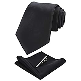 JEMYGINS Mens Solid Color Formal Necktie and Pocket Square, Tie Clip Sets