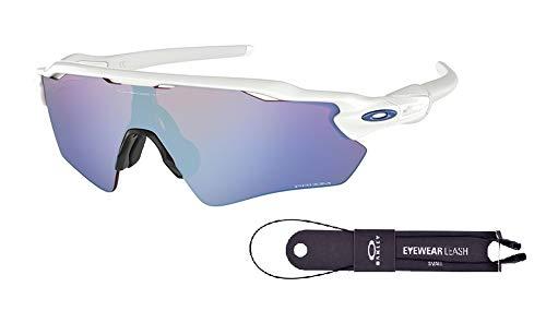 (Oakley Radar EV Path OO9208 920847 38M Polished White/Prizm Sapphire Snow Sunglasses For Men+BUNDLE with Oakley Accessory Leash Kit)