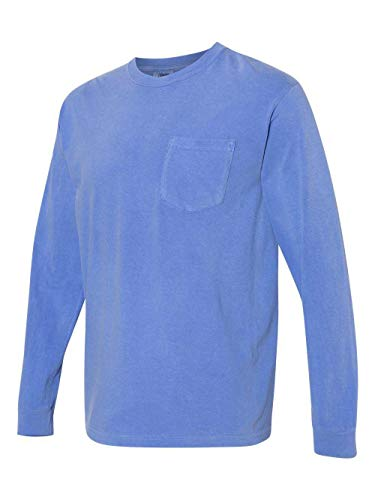 (Comfort Colors - Garment Dyed Heavyweight Ringspun Long Sleeve Pocket T-Shirt - 4410-2XL - Flo Blue)