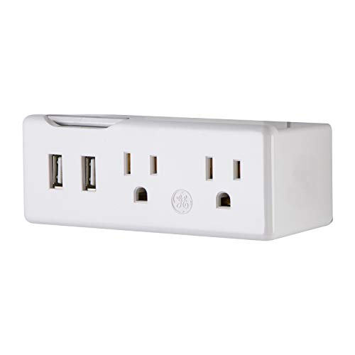 GE Power Station Tap, 2 USB and 2 AC Outlets 2.1A  Horizontal, White, 35805