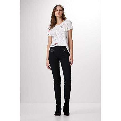 Calça Skinny Tall Sarja E Couro-Preto - 44