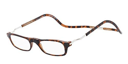 CliC Magnetic Closure Reading Glasses XXL with Adjustable Headband Tortoise 2.00