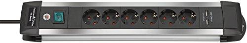 Brennenstuhl Steckdosenleiste mit USB-Ladefunktion 6-fach 1391000516