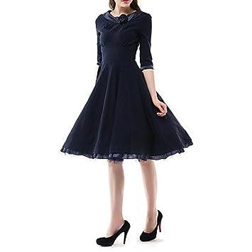 La mujer vestido de fiesta / VINTAGE DRESS sólido cuello redondo una línea / vestido negro