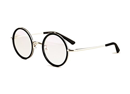 - Agstum Vintage Retro Small Round Prescription Optical Eyeglass Frame 43mm (Black+Silver, 43mm)