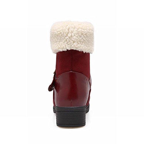 Feuillet Sur Femmes Fourrure Neige Vin Rouge Des Bottes Faux Chaussures Mee Courtes De 8tqxwRqC