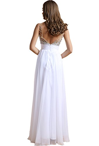 Cocktaikleid lang Damen Ausschnitt V Chiffonkleid BININBOX Weiß mit Ärmellose Pailletten Abendkleid Partykleid Festlich zqUdxPZ