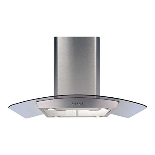CDA ECPK90SS 90cm Curved Glass Island Cooker Hood in Stainless Steel