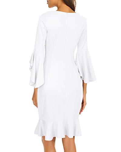 cc188fcad2e AUTCY Women's Elegant Ruffle 3/4 Sleeve Evening Party Mermaid Bodycon Dress
