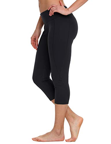 BALEAF Women's Yoga Capri Workout Running Leggings Inner Pocket Non See-Through Fabric