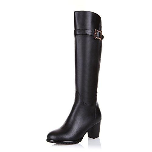 alto in dimensioni Stati QXregalo L codice e black ZQ stivali Europa cintura stivali fibbia di Natale cuoio gli Uniti di tacco alti gAznOT