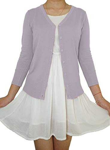 Fit Apparel - Casual Elegant V-Neck Soft Knit 3/4 Sleeve Button Down Vintage Classic Basic Cardigan Sweater (Lilac, Small)