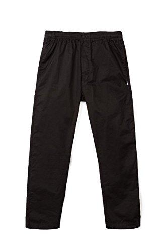 Stussy Light Twill Beach Pant Black Elastic Waist Cotton Men's Pants