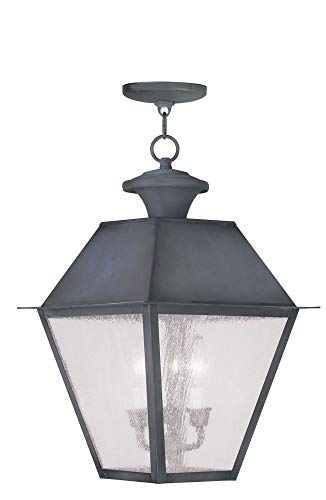 Livex Lighting 2170-61 Mansfield - Three Light Outdoor Hanging Lantern, Charcoal Finish with Seeded Glass