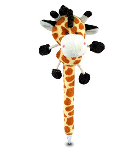 Puzzled Giraffe Plush Pen,7 Inch Cute & Soft Stuffed Toy Ballpoint Plushie Novelty Pens Creative Educational Writing Products Wildlife Animals Themed for Kids, Children, Student School & Office Supply