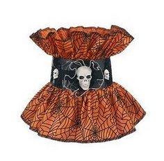 (Ganz Creepy Costume Collar Halloween Orange Skeleton Skulls Spider Web Witch)