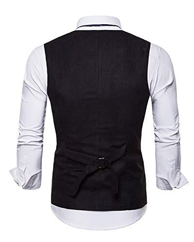 Manches Sans Costume Gilet Homme Vintage Veste Noir Double Suédine Jolime Boutonnage z4xRww