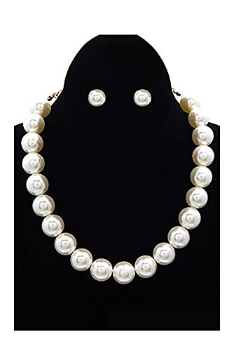 Cream Shell Pearl - Womens Glossy Round Large Pearl Linked Fashion Strands Necklace YS221 (Cream)