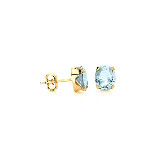 - Oval Shape Aquamarine Stud Earrings - Gemstone Stud Earrings | Available in Yellow Gold, Rose Gold and 925 Yellow-gold-plated-silver | For Women by Sparkle Bargains