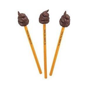Number Two Poo Poop Crap Pencil Novelty Gift Set of 3