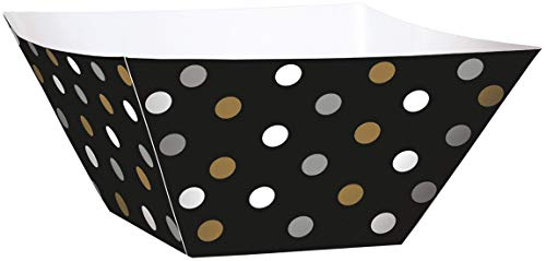 Black, Gold, and Silver Polka Dot Square Paper Bowls (24 ct)