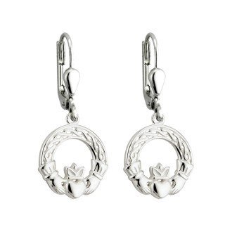 Solvar Sterling Silver Celtic Claddagh Drop Earrings by Solvar