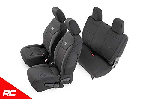 Rough Country 91007 Black Neoprene Seat Cover (Front/Rear) for 13-18 Jeep Wrangler JK ()