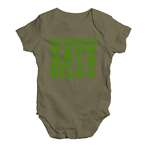 TWISTED ENVY Funny Baby Clothes Frankenstein Says Relax Baby Unisex Baby Grow Bodysuit 3-6 Months Khaki