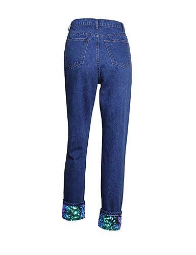 Pantalon Pompon et Active Noir Femmes Blue Jeans YFLTZ Unie Rouge Couleur zwBt4q