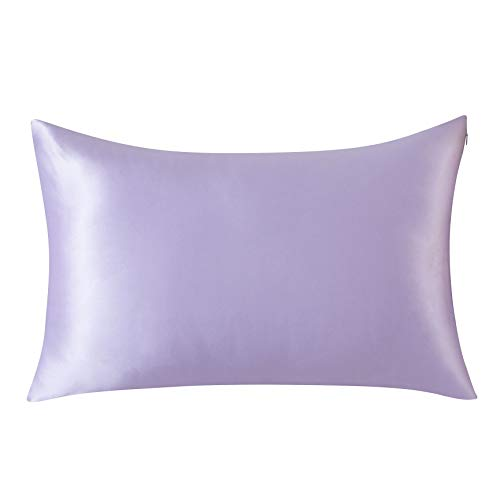 Silky Sleep Satin Pillowcase - SLPBABY 100% Natural Pure Silk Pillowcase for Hair and Skin, Both Side 19 Momme Silk, Luxury Smooth Satin Pillowcase Cover with Hidden Zipper (Queen, Lavender)