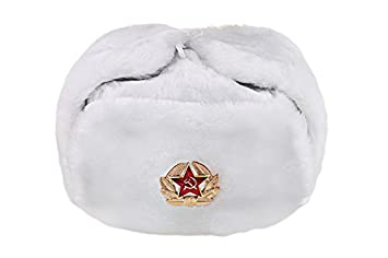Russian USSR Winter White Fur Ushanka Hat + Soviet Red Star Badge ... 05cd701891ff