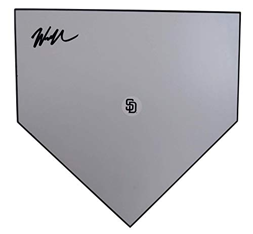 (San Diego Padres Wil Myers Autographed Hand Signed Baseball Home Plate Base with Proof Photo of Will Signing and COA- SD Padres Memorabilia)