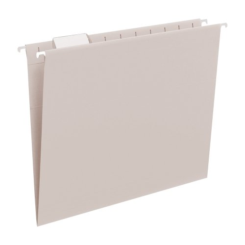 Smead Hanging File Folder with Tab, 1/5-Cut Adjustable Tab, Letter Size, Gray, 25 per Box - File Gray
