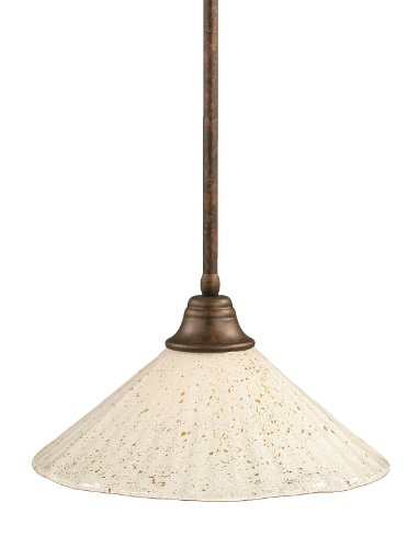 Toltec Lighting 26-BRZ-714 Stem Pendant Light Bronze Finish with Gold Ice Glass Shade, 16-Inch