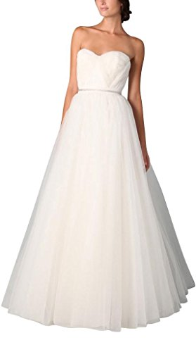 traegerloses Hochzeitskleider Tulle Satin bodenlangen elegantes BRIDE ueber Einfache Brautkleider Weiß GEORGE CFnxtZ4qWW