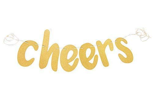 Love Events Glittery Cheers Banner Gold for All of Your Celebration Needs - Birthday, Wedding, Anniversary, Bachelorette Party or Hen Party, Engagement Party, Shower, Party or New Years Eve -
