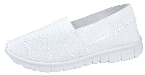 Dora Trainers Girls Stretch Womens Lora Elasticated White v7B4Zq