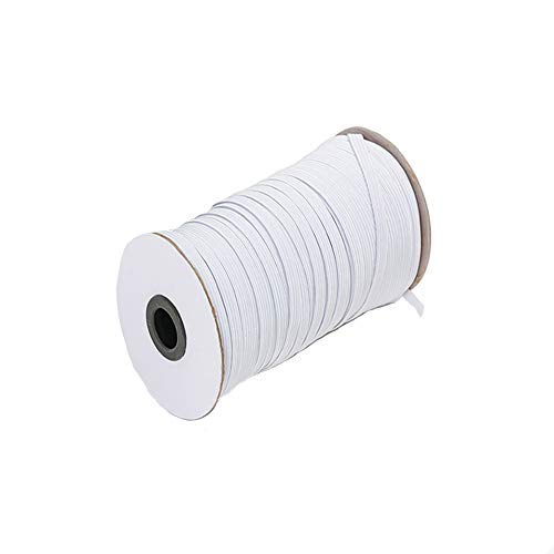 White 120-Yards Length 1/8 Inch Width Elastic Cord/Elastic Band/Elastic Rope/Stretch Knit Elastic Spool for Crafts DIY,Masks and Cuff