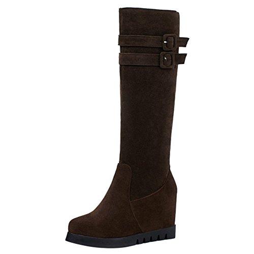 COOLCEPT Mujer Caliente Cremallera Zapatos con Tacon Alto de Cuna Botas Largas con Cinturon, Brown, 36.5 EU - 37 Asia