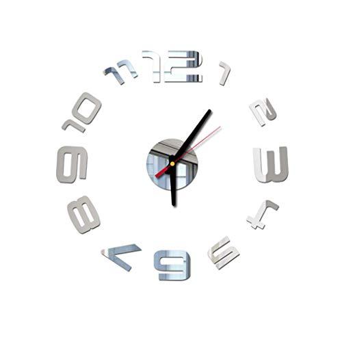 beautyjourney Reloj de Pared de Acrílico Vinilo para Pared Reloj Sin Ruidos de Garrapatas 3D DIY Espejo Pegatinas de…
