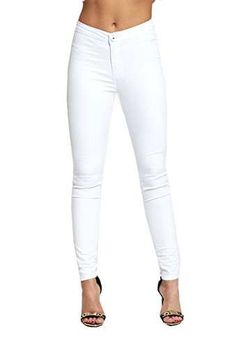 Divadames Womens Plus Size High Waisted Skinny Jeans UK Size - 6-22 White