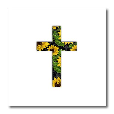 Cross Pattern Yellow (3dRose ht_185475_2 Sunflower Pattern Christian Cross Black and Yellow Floral Crucifix Iron on Heat Transfer, 6 by 6-Inch, for White Material)