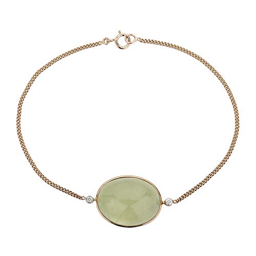 Euforia Jewels IGI Certified 14K Yellow Gold Top Quality Natural Prehnite 19.87 Carat Oval Cabochon and 0.03 Carat Natural Diamond (VS/H-I) Round Full Cut Bracelet For Women