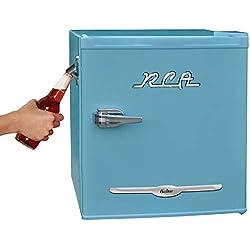 RCA RFR176-BLUE 1.6 cu. ft. Retro Bar Fridge with Side Bottle Opener, Blue