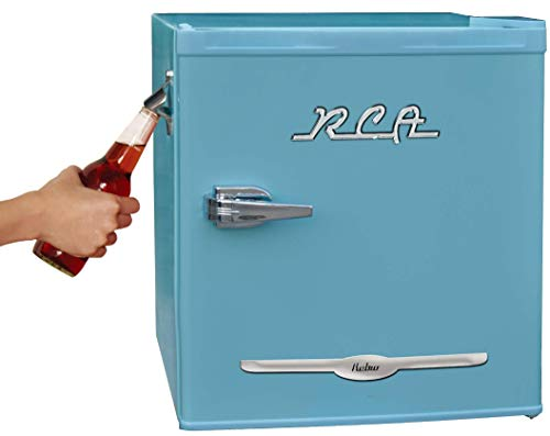 RCA RFR176-BLUE 1.6 cu. ft. Retro Bar Fridge with Side Bottle Opener, Blue